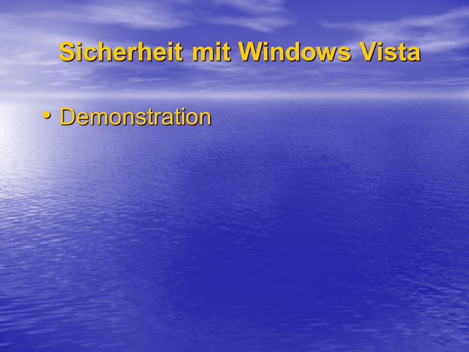 Sicherheit mit Windows Vista