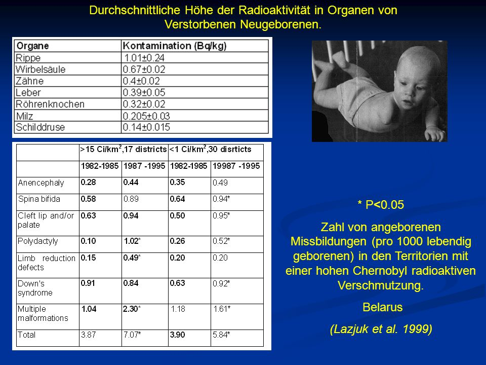 Durchschnittliche Höhe der Radioaktivität in Organen von Verstorbenen Neugeborenen.