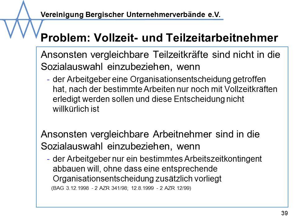 Problem: Vollzeit- und Teilzeitarbeitnehmer