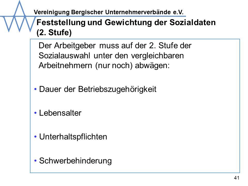 Feststellung und Gewichtung der Sozialdaten (2. Stufe)