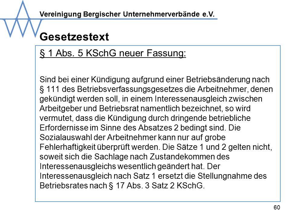 Gesetzestext § 1 Abs. 5 KSchG neuer Fassung: