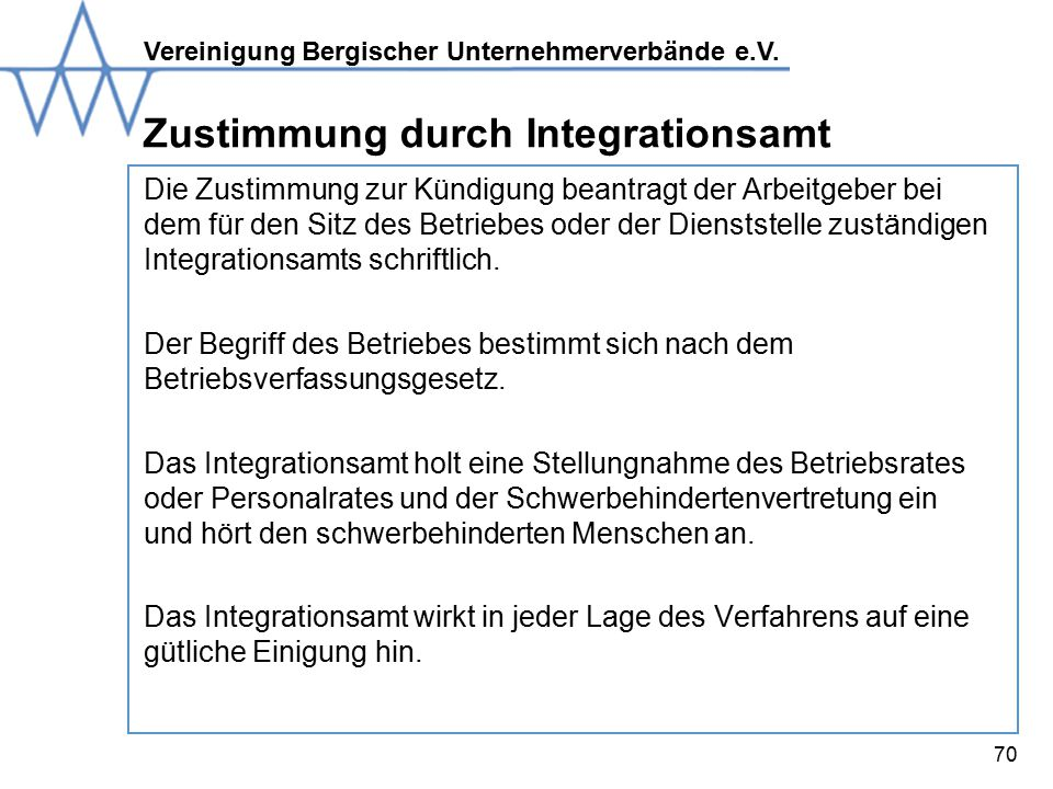 Zustimmung durch Integrationsamt