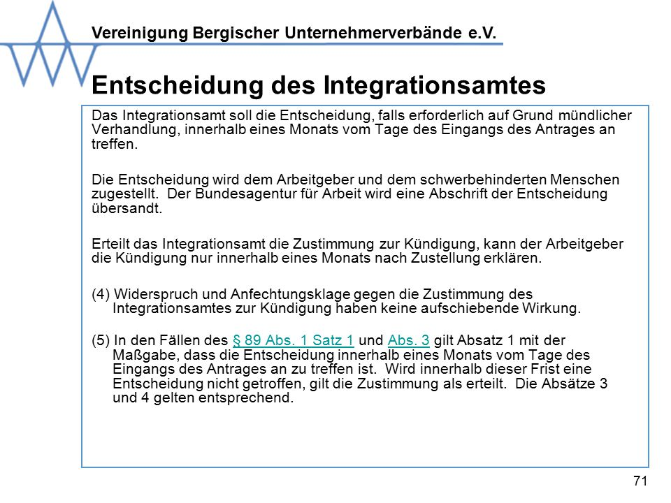 Entscheidung des Integrationsamtes