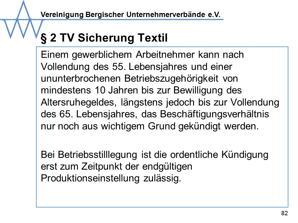 § 2 TV Sicherung Textil