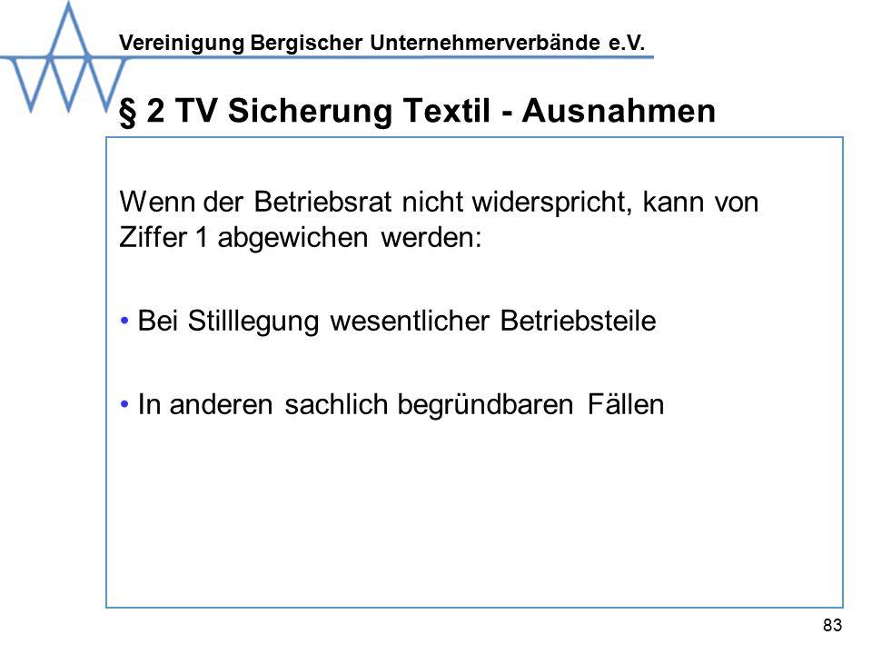 § 2 TV Sicherung Textil - Ausnahmen