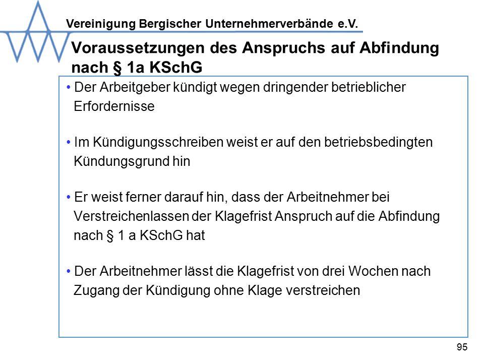 Voraussetzungen des Anspruchs auf Abfindung nach § 1a KSchG