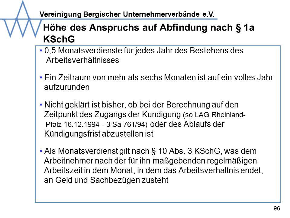 Höhe des Anspruchs auf Abfindung nach § 1a KSchG