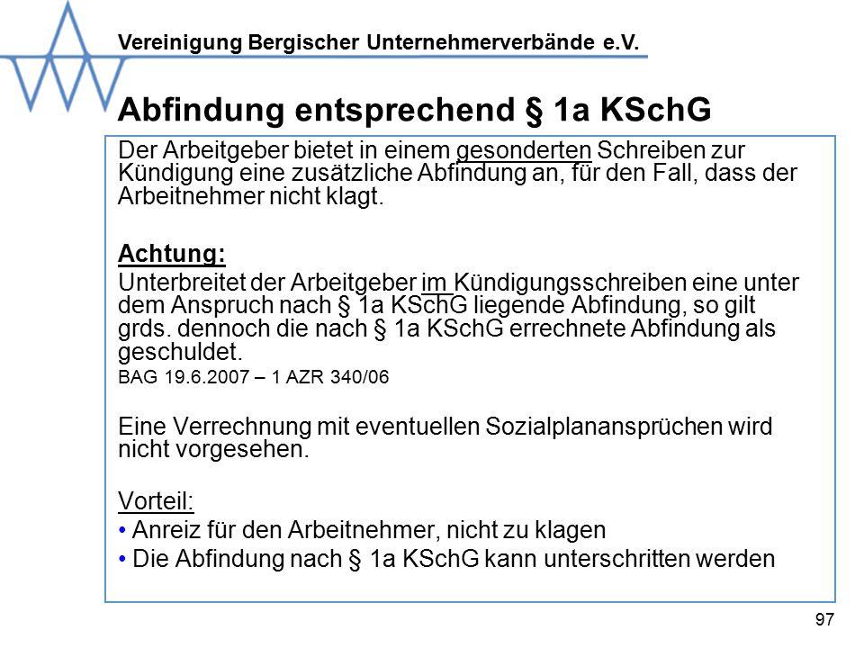 Abfindung entsprechend § 1a KSchG