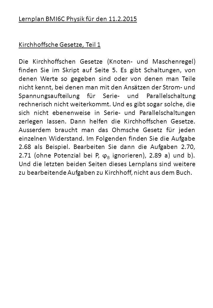 Lernplan BMI6C Physik für den 11.2.2015