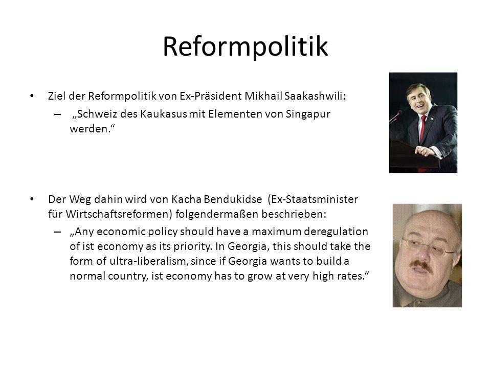 """Reformpolitik Ziel der Reformpolitik von Ex-Präsident Mikhail Saakashwili: """"Schweiz des Kaukasus mit Elementen von Singapur werden."""