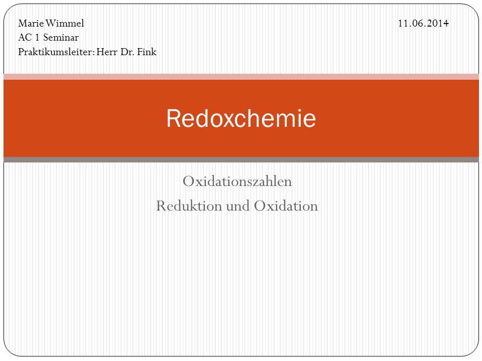 Oxidationszahlen Reduktion und Oxidation
