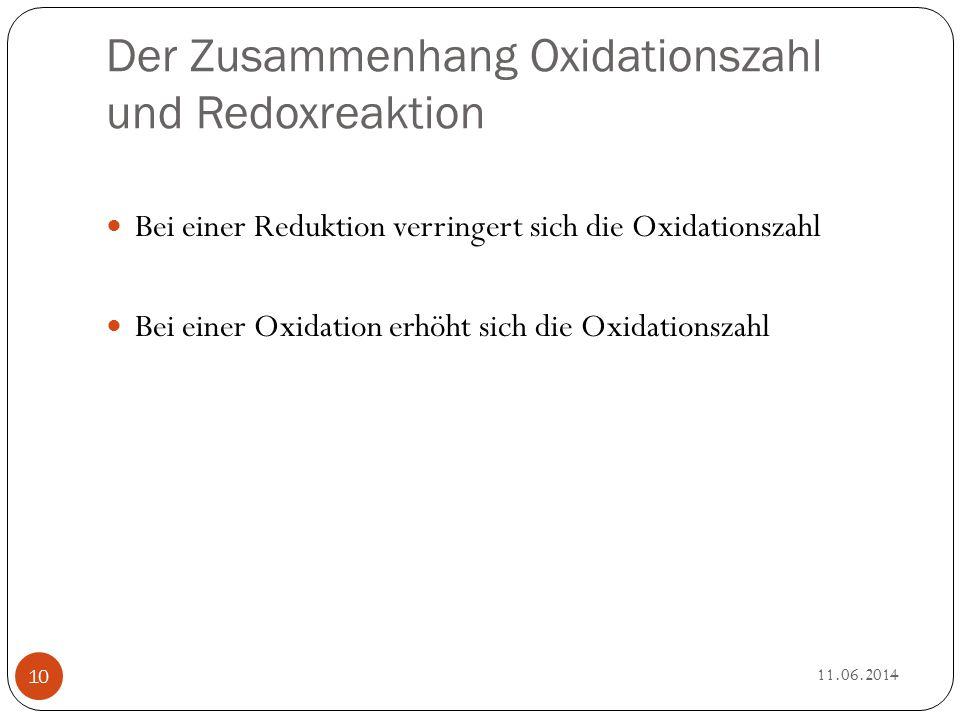 Der Zusammenhang Oxidationszahl und Redoxreaktion