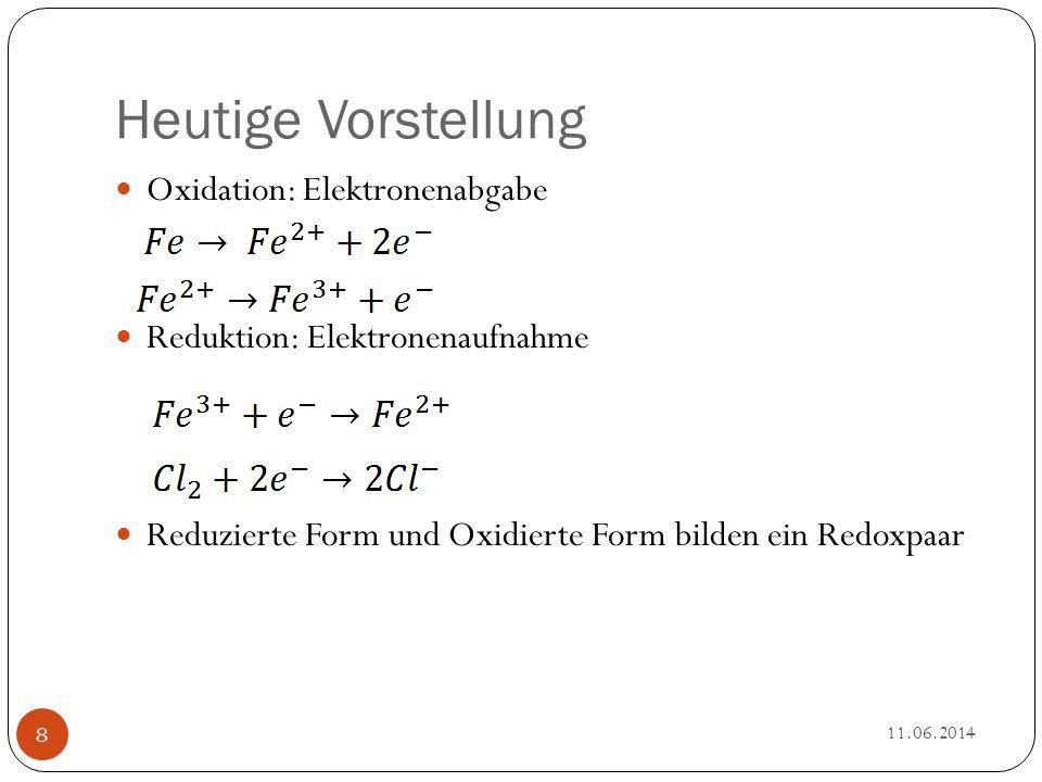 Heutige Vorstellung Oxidation: Elektronenabgabe