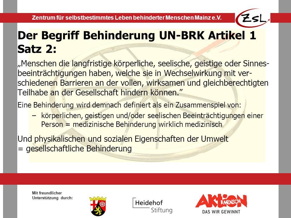Der Begriff Behinderung UN-BRK Artikel 1 Satz 2: