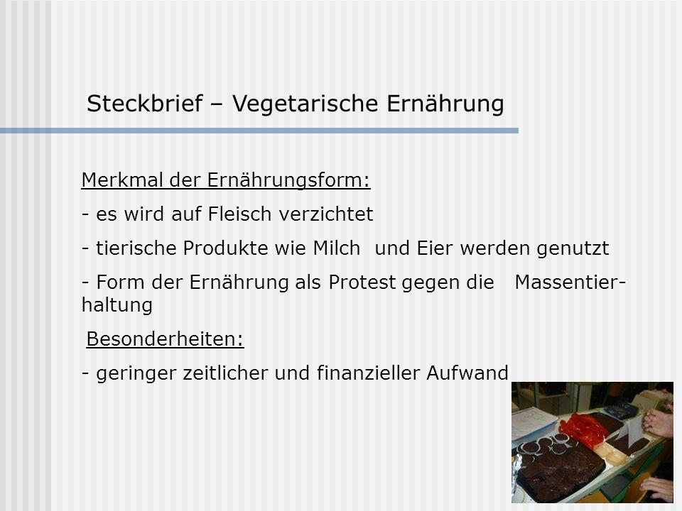 Steckbrief – Vegetarische Ernährung