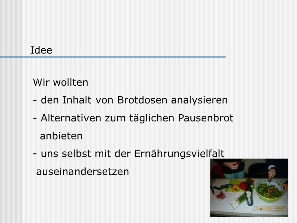 Idee Wir wollten. - den Inhalt von Brotdosen analysieren. Alternativen zum täglichen Pausenbrot. anbieten.