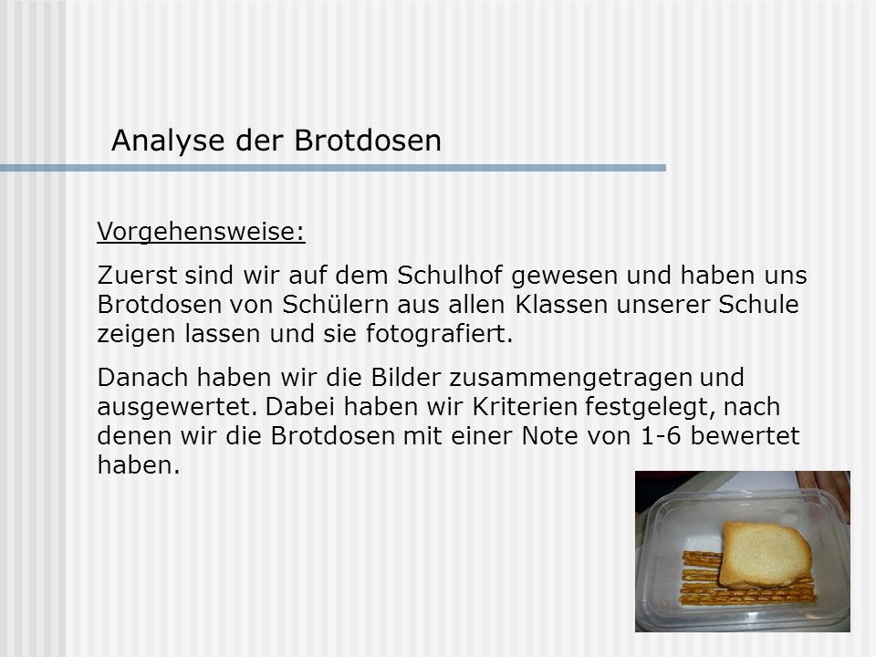 Analyse der Brotdosen Vorgehensweise: