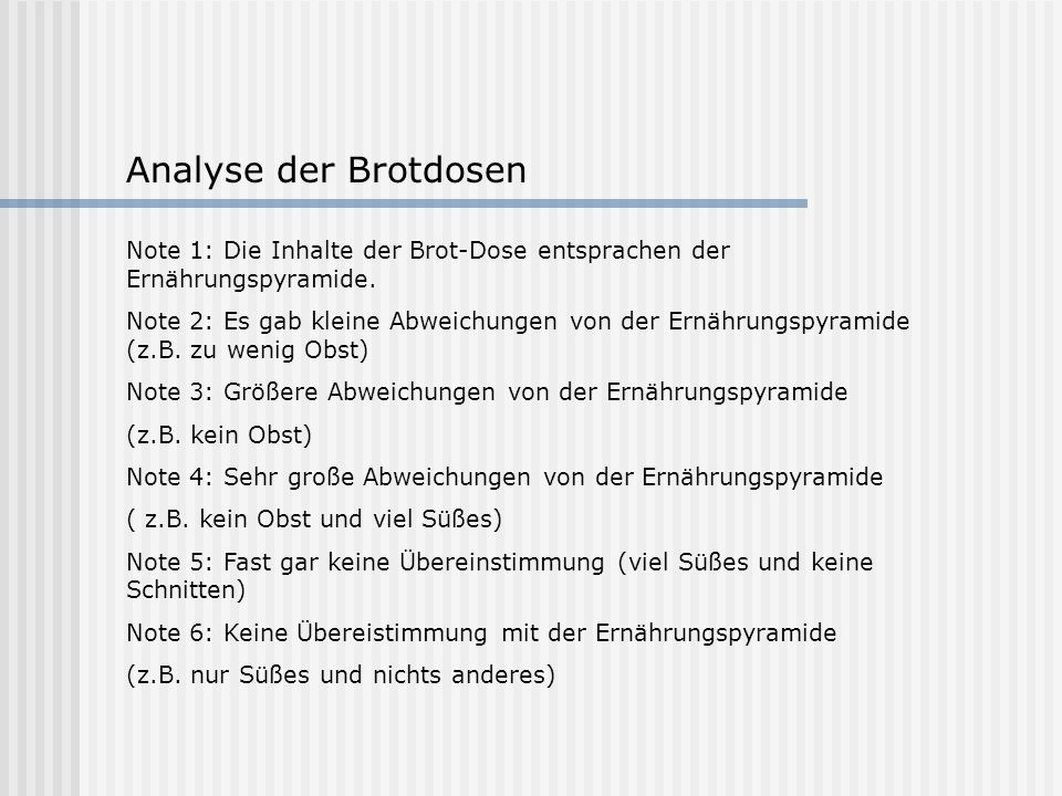 Analyse der Brotdosen Note 1: Die Inhalte der Brot-Dose entsprachen der Ernährungspyramide.