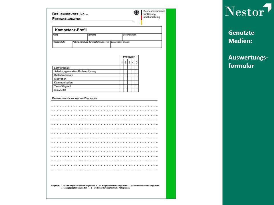 Genutzte Medien: Auswertungs- formular