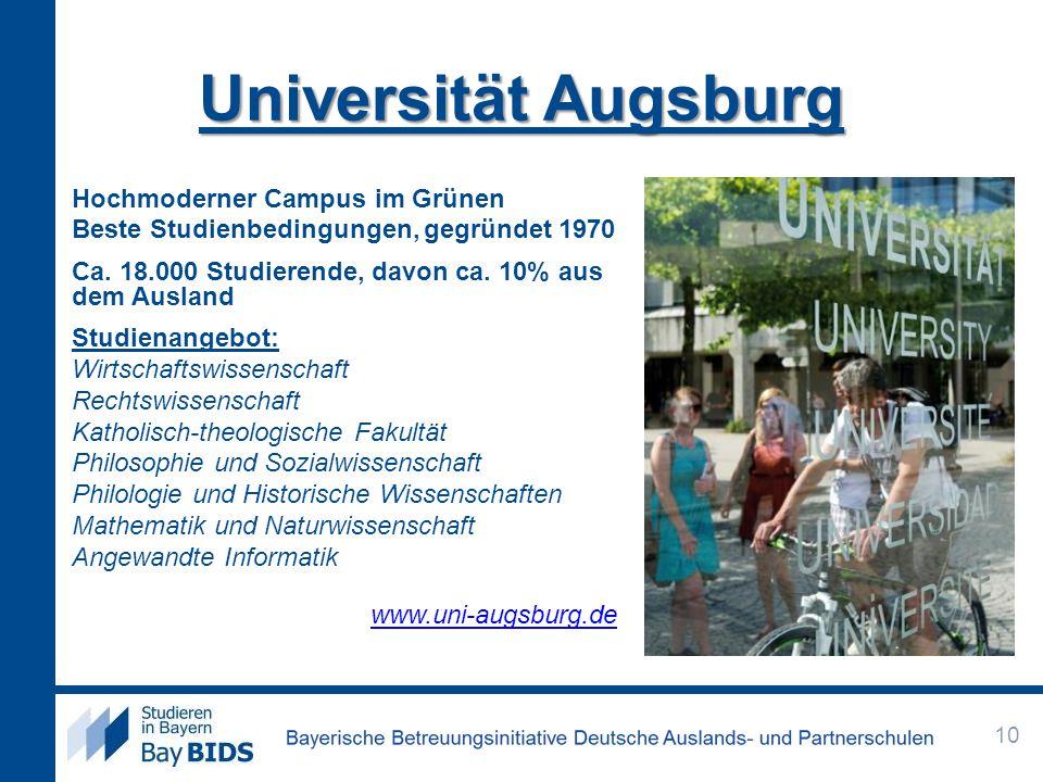Universität Augsburg Hochmoderner Campus im Grünen