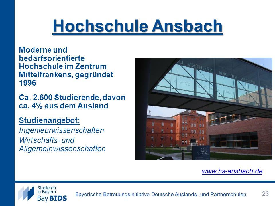 Hochschule Ansbach Moderne und bedarfsorientierte Hochschule im Zentrum Mittelfrankens, gegründet 1996.