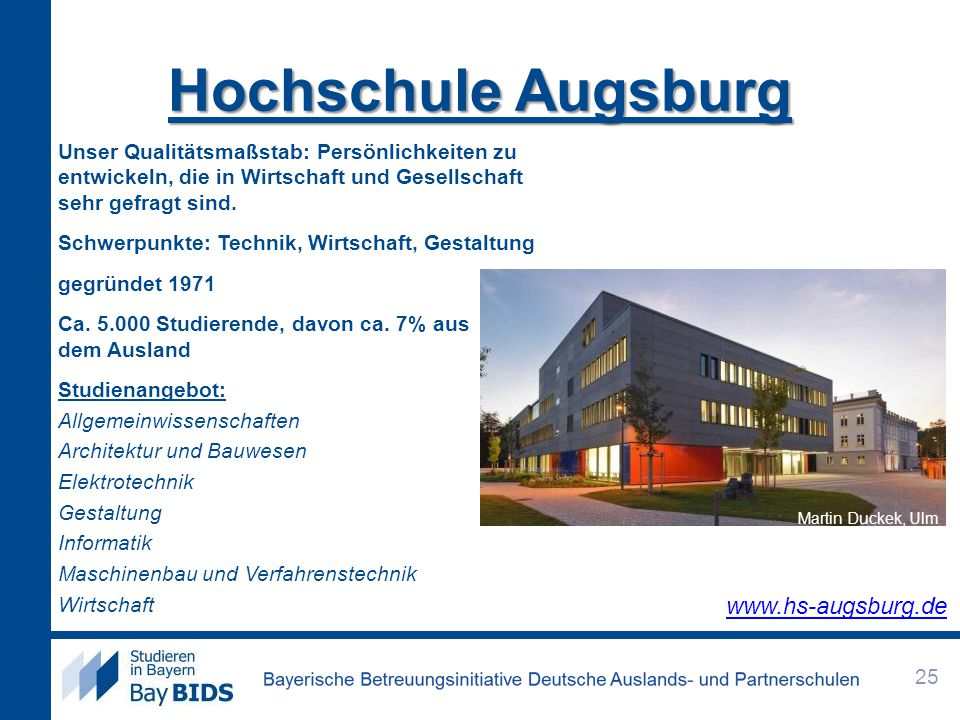 Hochschule Augsburg www.hs-augsburg.de