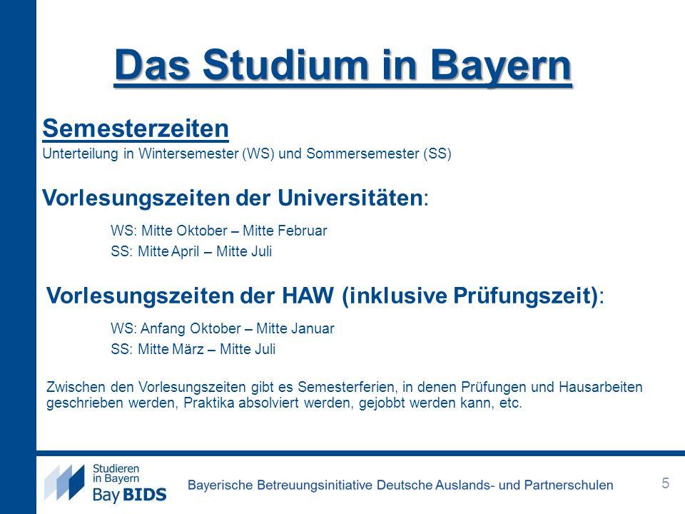 Das Studium in Bayern Semesterzeiten