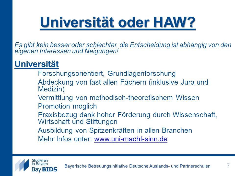 Universität oder HAW Universität