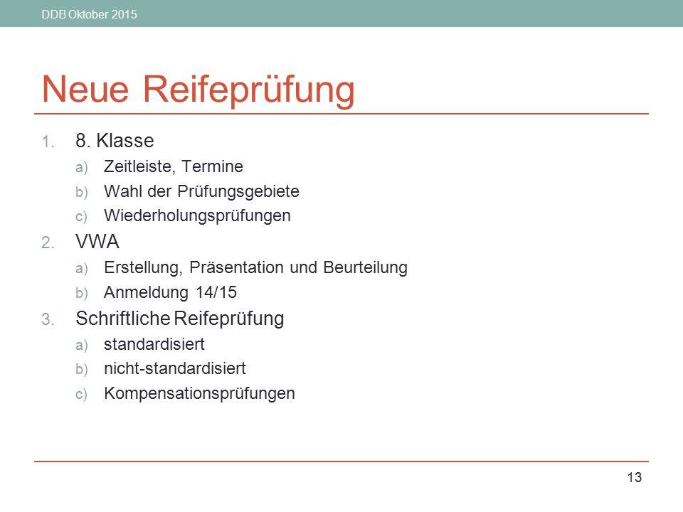 Neue Reifeprüfung 8. Klasse VWA Schriftliche Reifeprüfung