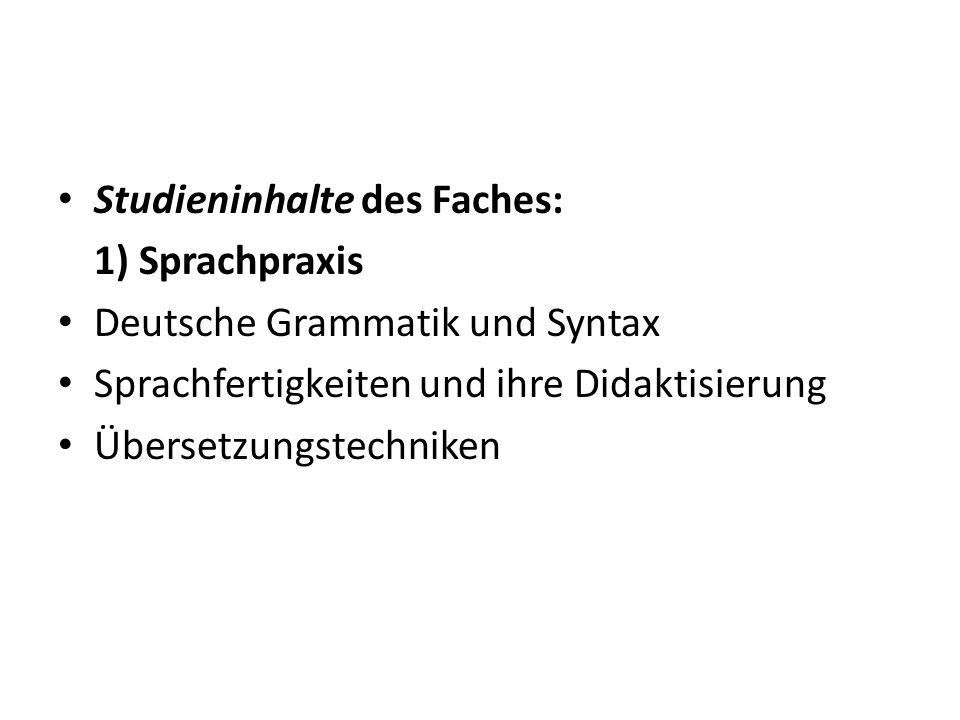 Studieninhalte des Faches: