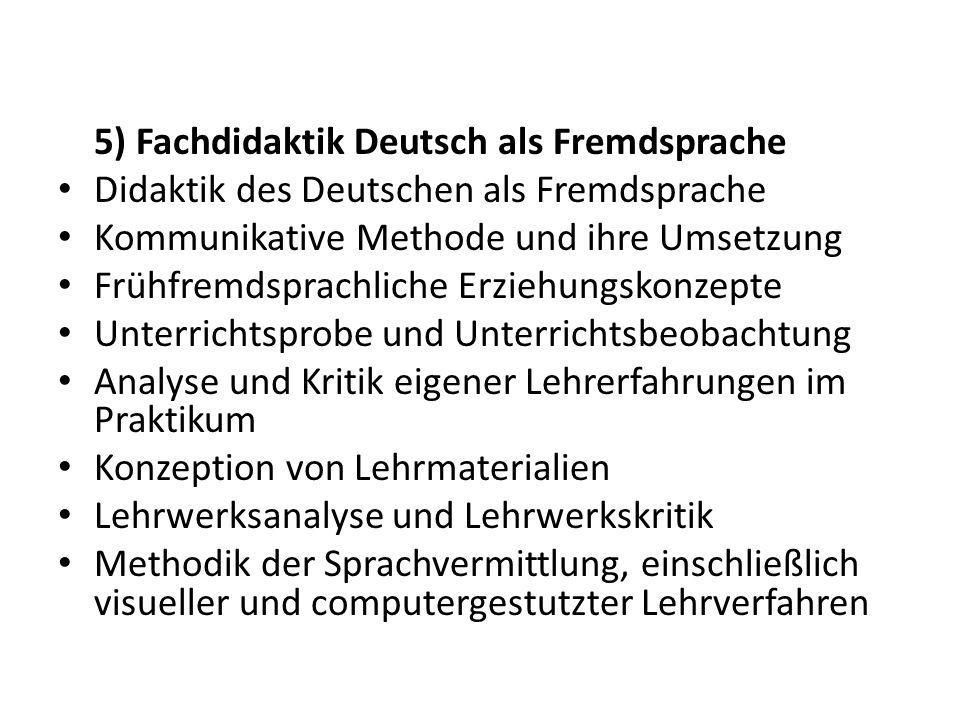 5) Fachdidaktik Deutsch als Fremdsprache