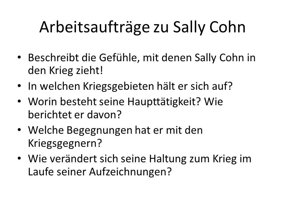 Arbeitsaufträge zu Sally Cohn