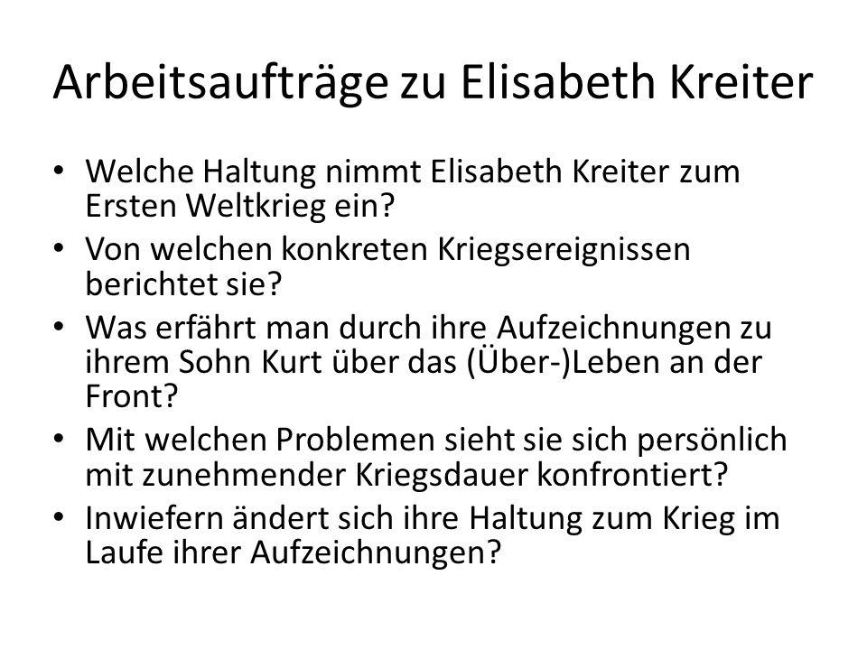 Arbeitsaufträge zu Elisabeth Kreiter
