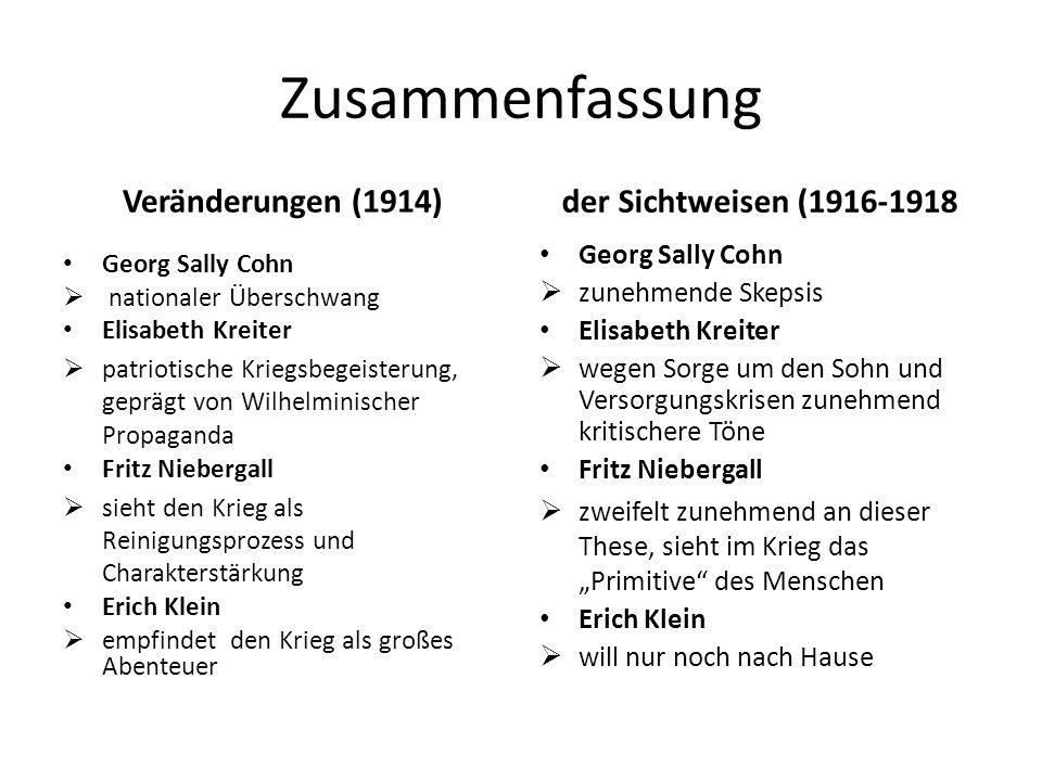 Zusammenfassung der Sichtweisen (1916-1918 Veränderungen (1914)