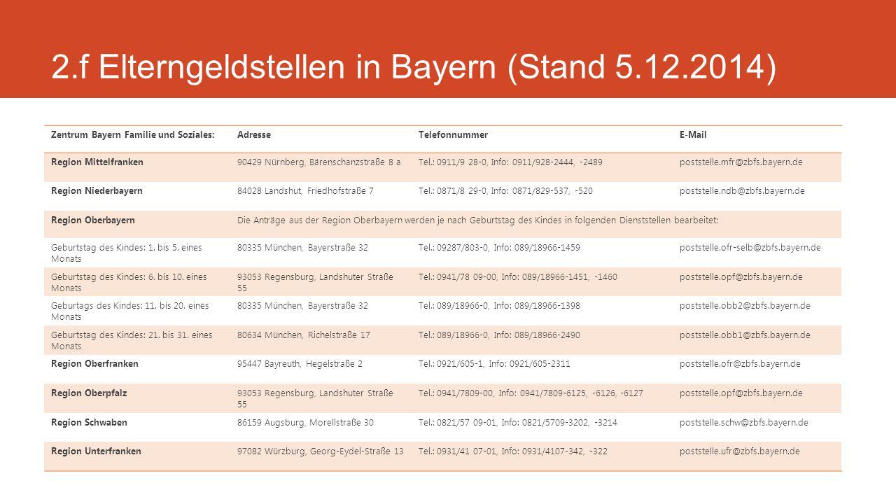 2.f Elterngeldstellen in Bayern (Stand 5.12.2014)