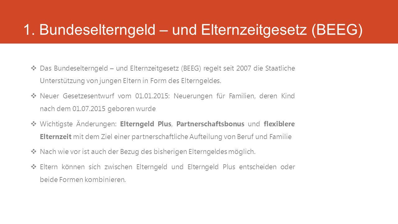 1. Bundeselterngeld – und Elternzeitgesetz (BEEG)