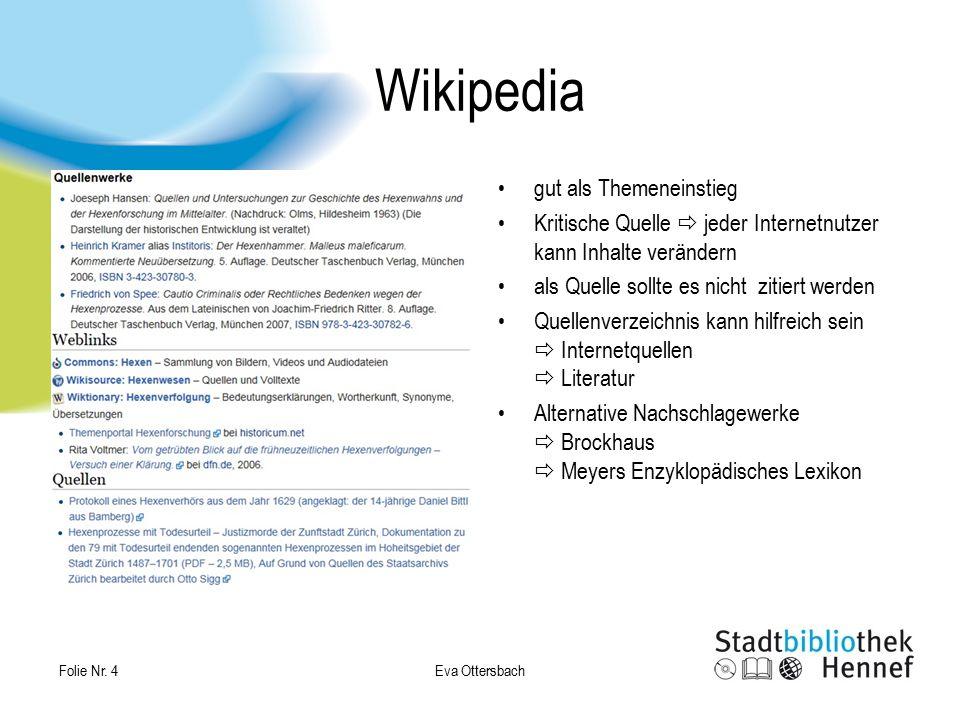 Wikipedia gut als Themeneinstieg