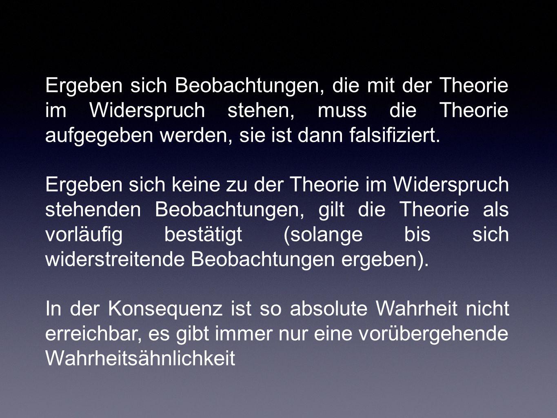 Ergeben sich Beobachtungen, die mit der Theorie im Widerspruch stehen, muss die Theorie aufgegeben werden, sie ist dann falsifiziert.