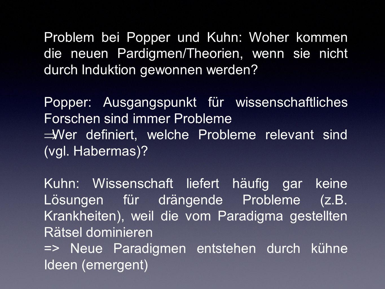 Problem bei Popper und Kuhn: Woher kommen die neuen Pardigmen/Theorien, wenn sie nicht durch Induktion gewonnen werden