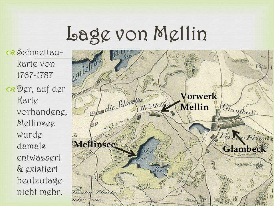 Lage von Mellin Schmettau-karte von 1767-1787