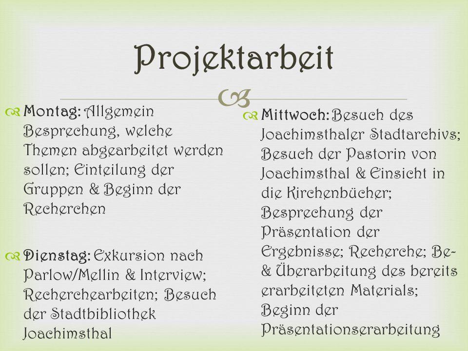 Projektarbeit Montag: Allgemein Besprechung, welche Themen abgearbeitet werden sollen; Einteilung der Gruppen & Beginn der Recherchen.