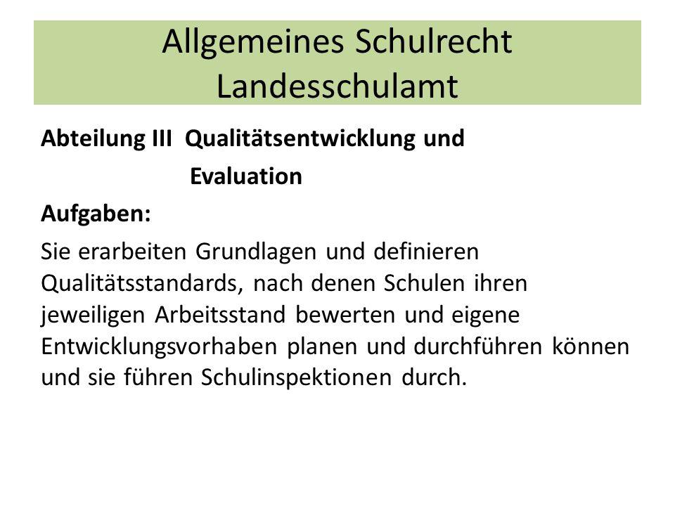 Allgemeines Schulrecht Landesschulamt