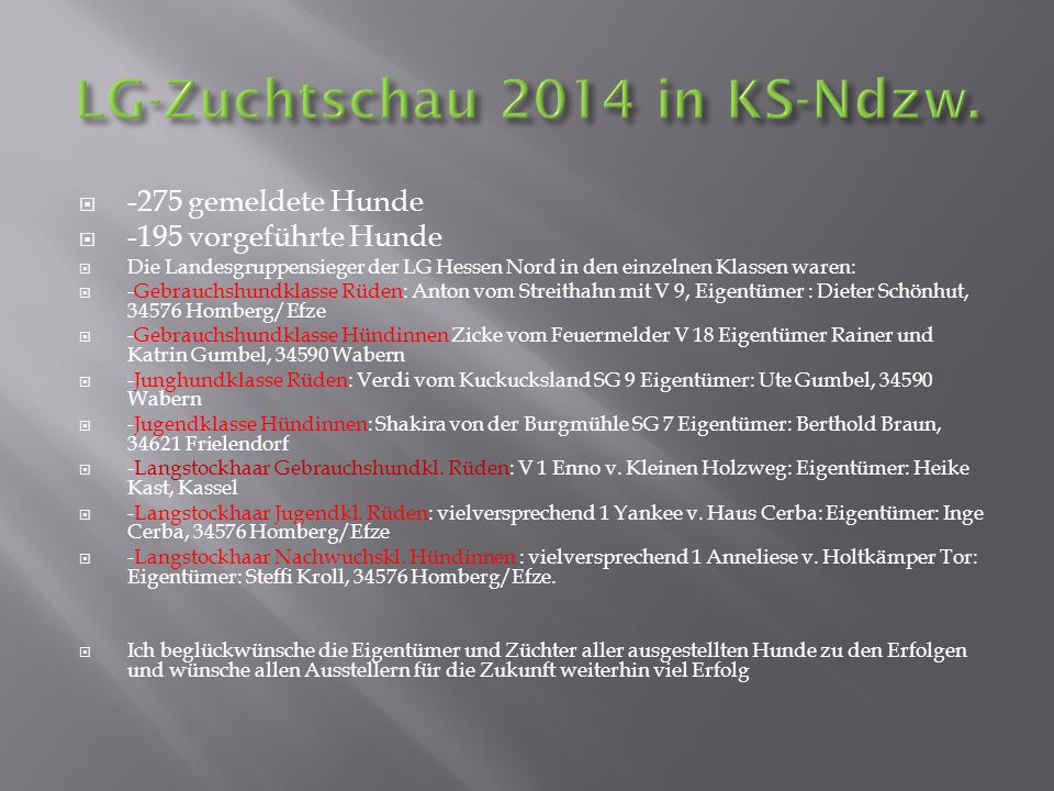 LG-Zuchtschau 2014 in KS-Ndzw.