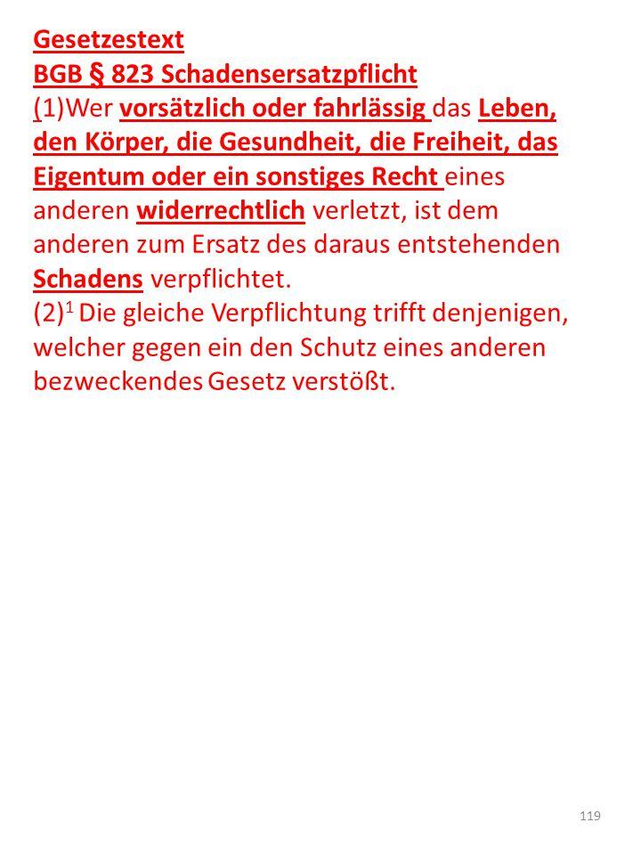 Gesetzestext BGB § 823 Schadensersatzpflicht.