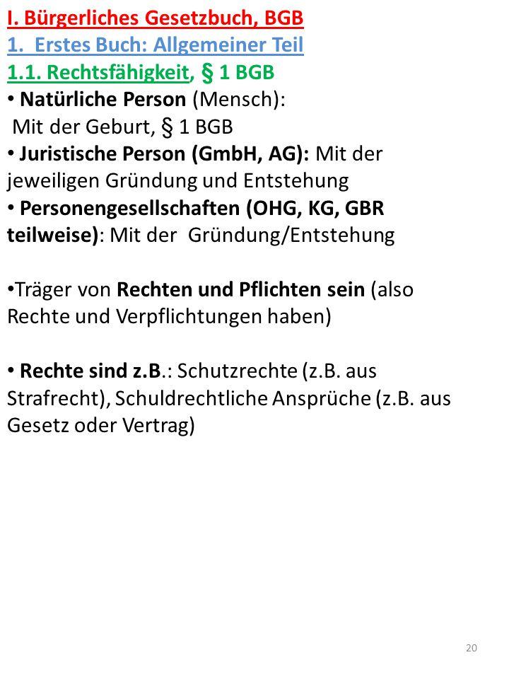 I. Bürgerliches Gesetzbuch, BGB