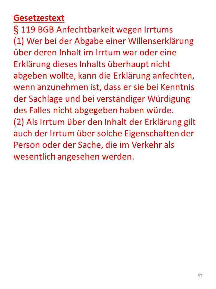 Gesetzestext § 119 BGB Anfechtbarkeit wegen Irrtums.