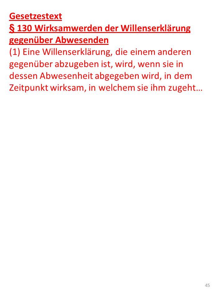 Gesetzestext § 130 Wirksamwerden der Willenserklärung gegenüber Abwesenden.