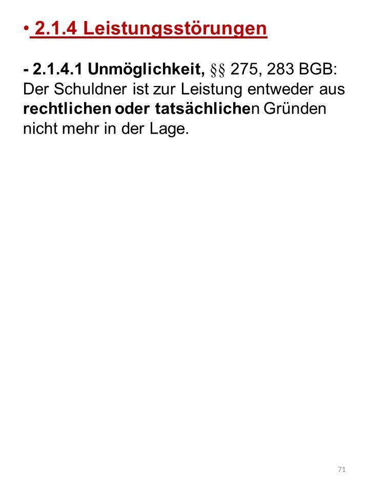 2.1.4 Leistungsstörungen - 2.1.4.1 Unmöglichkeit, §§ 275, 283 BGB: