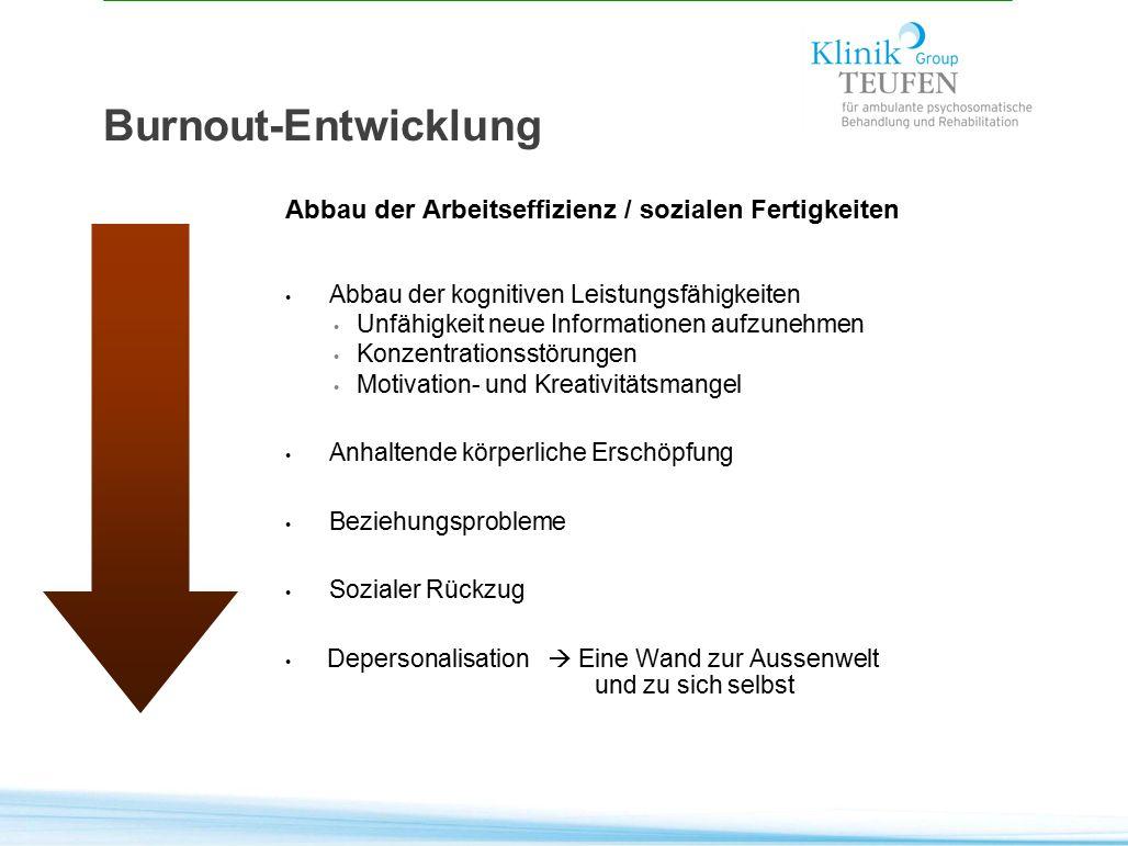 Burnout-Entwicklung Abbau der Arbeitseffizienz / sozialen Fertigkeiten