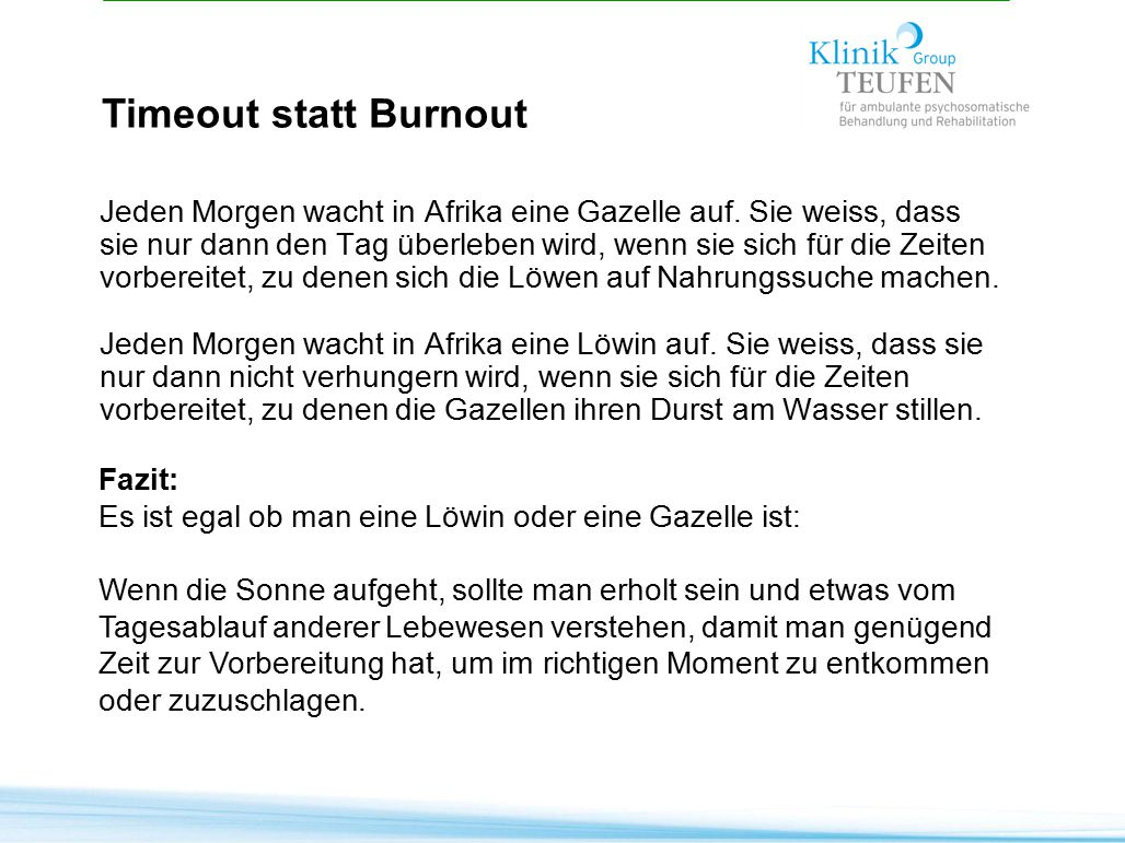 Timeout statt Burnout